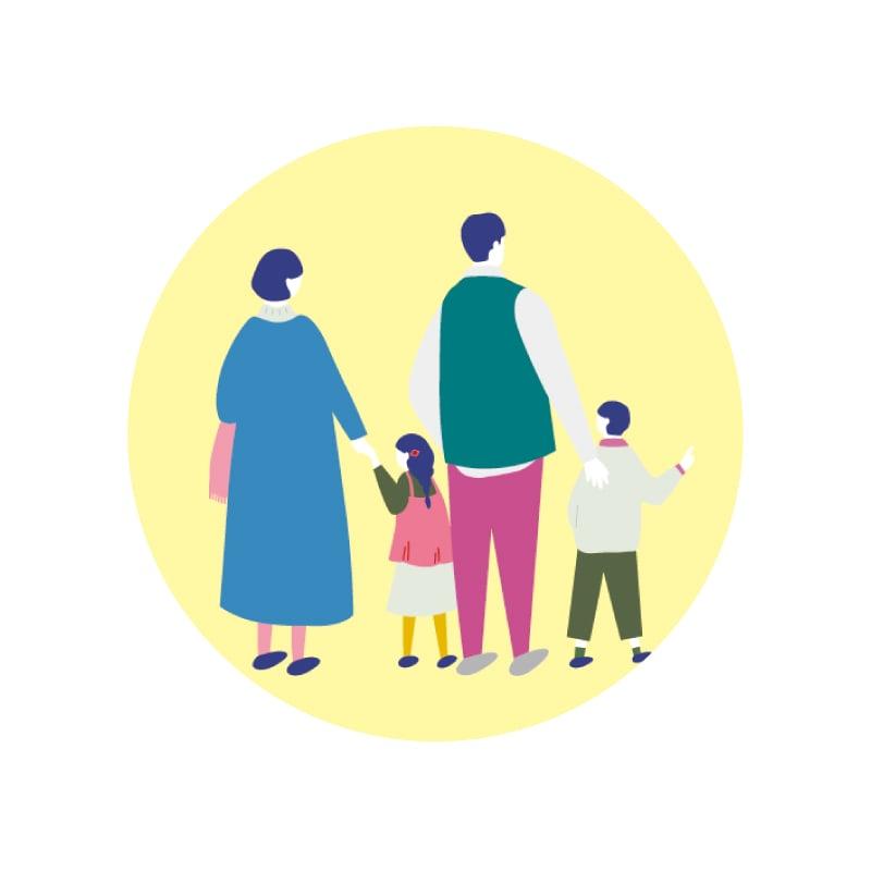 福井ハウジングパーク用の家族イラスト